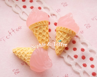20mm Pink Ice Cream Resin Miniature Sweets Deco - 5pcs
