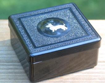 black Bakelite trinket jewelry Box with sterling silver Scottie Dog inlay medallion textured molded Greek Key