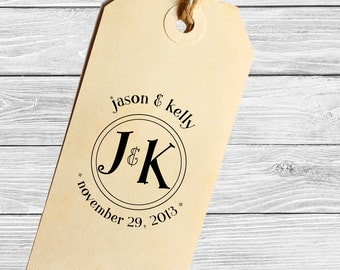 Save the date custom wedding stamp with your initials or monogram--132TS