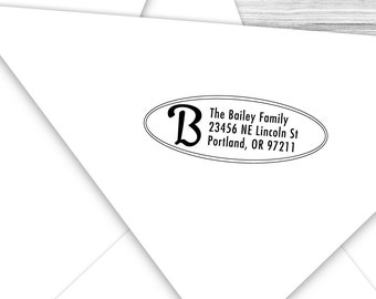 Custom address stamp oval with your initial--141TS