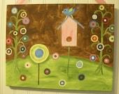 """11 x 14 """"birdy's home"""" original painting Baby decor Children wall art Nursery Kids girls room art pink green aqua brown bird branch house"""