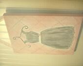 "11 x 14 ""gray party dress"" original painting Baby decor Children wall art Nursery Kid girl room princess grey polka dot flower ballet formal"