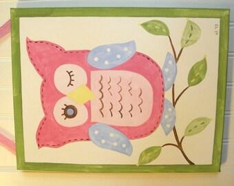 Owl canvas painting 11 x 14 Original handpainted Girl room decor Baby shower nursery Children wall art Kid bedroom Tree Pink green blue bird