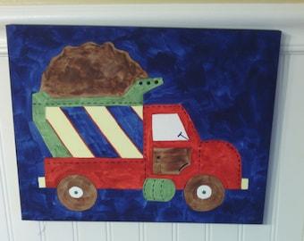 Boys dump truck canvas painting 11 x 14 Construction Children kid room decor Baby nursery wall art Original painted artwork Navy blue Red