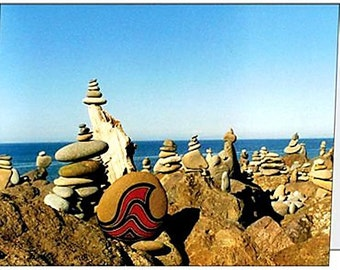 Seascape Note Cards, Rock Cairns Image, Set of 4, Blank Inside, with Envelopes
