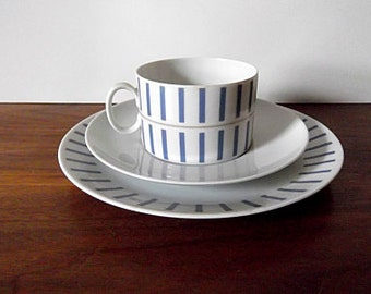 Modernist Thomas Germany Blue and White Striped Dessert Trio, Cup, Saucer, Plate