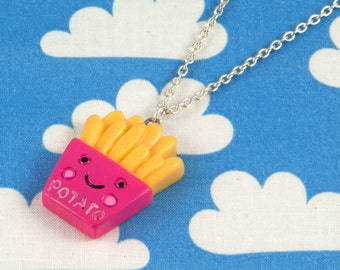 Kawaii Happy Fries Necklace Hot Pink