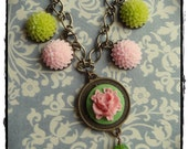 Green and Pink Flower Charm Necklace