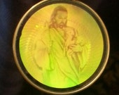 Awesome 1960s Hologram Pendant JESUS The GOOD SHEPHERD Design