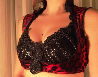 Underbust stretch vest - YOUR SIZE - Red leopard velvet