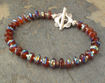 Carnelian Thai Hill Tribe Silver Bracelet - Mystic Sunset