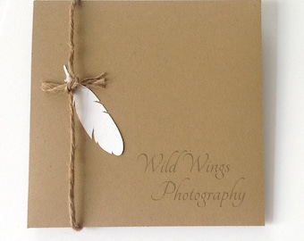 Cd Dvd cases Personalized in kraft color with jute string and feather set of 10