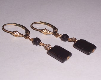 Handmade Black Onyx Earrings with Gold Filled Ear Wires