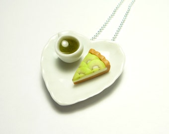 Romantic Teatime Necklace - Green Tea & Kiwi Tart - Miniature Food Jewelry - Polymer Clay Cake Jewel - Mini Pastry Pendant - Fimo Cute Sweet