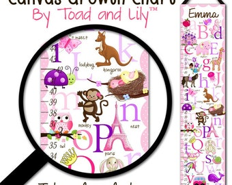 Canvas GROWTH CHART A to Z Animal Alphabet Girls Bedroom Kids Baby Nursery Wall Art Gc0010