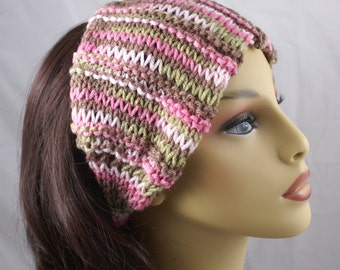 Dread Wrap Headwrap Headband Dread Band Ear Warmer Knitted in Pink Camo Ready to Ship