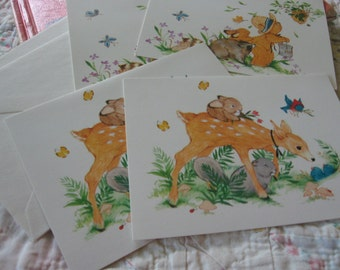 Four Sweet Vintage Get Well Cards with Animals