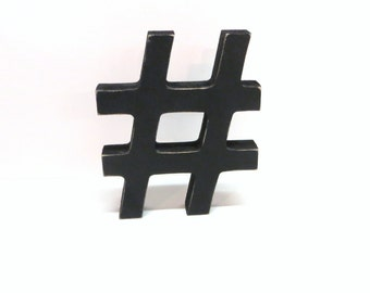 Wood # Hashtag Sign - 5 Inch Shelf Sitter Style - Painted Black- Distressed - Typography - Office Decor -  Corporate Gift - CoWorker Gift