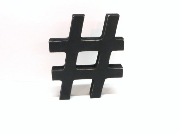 Wood hashtag sign 5 inch shelf sitter style painted for Decor hashtags