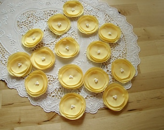 Handmade fabric appliques, sew on flower embellishments, fabric flowers for crafts, bouquet supplies (15 pcs)- MELLOW YELLOW POPPIES
