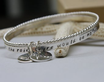 Personalized Bangle, Sterling Silver Bangle, Hand Stamped Bangle