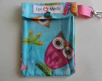 Epi / Inhaler Meds Pouch Easy to View Clear Front W/ Clip Holds Auvi Q Style Allergy Injectors or Puffer - 4x5 Owls on a Whim Fabric