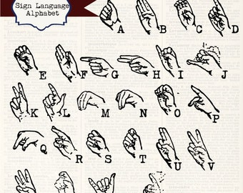 Instant Download - Sign Language Alphabet, digital clip art and photoshop brushes: Commercial and Personal Use