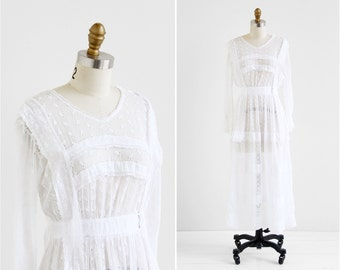 antique Edwardian dress / wedding dress / White Eyelet Gauze Downton Abbey Wedding Dress