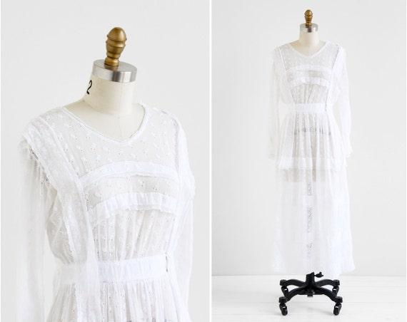 Antique Edwardian Dress Wedding Dress White Eyelet Gauze