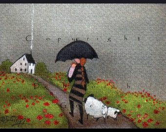 Babies in the Rain  a tiny Babies Sheep summer rain saltbox Print by Deborah Gregg