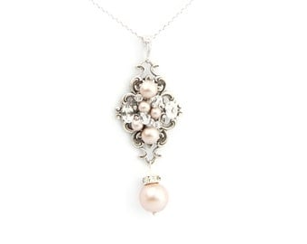 Bridal Necklace, Wedding Champagne Necklace, Bridal Pearl Necklace, Swarovski Crystal Pearl Necklace , Pendant Necklace ,Bridal Jewelry