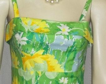 Vintage 1960s La Shack Pinup Sun Dress Sundress Small XS Palm Springs Locust Valley
