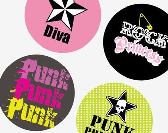 Punk Princess - Super Teen Funky - 1 (one) Inch (25mm) Round Pendant Images - Digital Sheet - Buy 2 Get 1 Free - Instant Download -Bottlecap