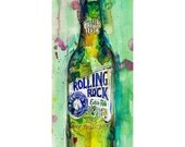 Rolling Rock Beer Print or Giclee from Original Watercolor - Perfect for Man Cave