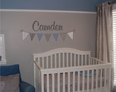 Boys Custom Banner Name Decal  - Personalized Name with Banner Wall Decal - Vinyl Wall Decal