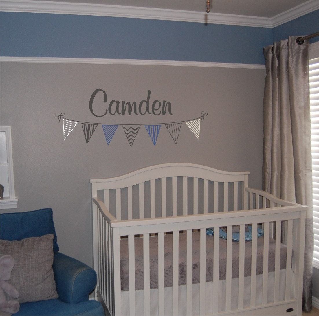 Boys Custom Banner Name Decal Personalized Name with Banner