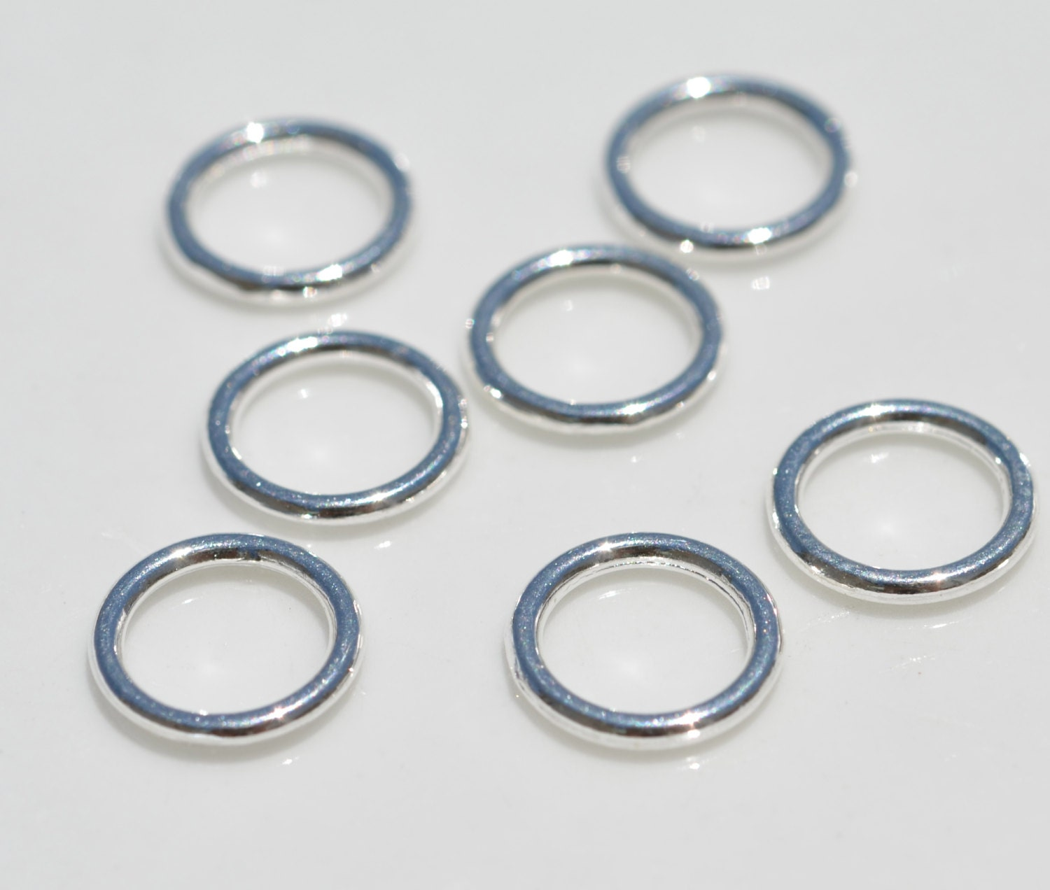 50 silver 8mm jump rings soldered f126