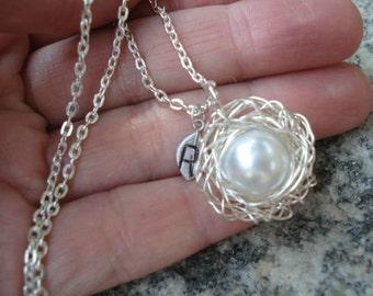 Bird Nest Necklace Pregnancy Necklace 1 Pearl Nest Personalized Nest Birdnest Pendant Mom Necklace Nest Jewelry
