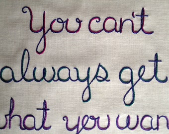 You Can't Always, Hand Embroidered, Modern Tapestry, Rolling Stones, Mick Jagger, Keith Richards, Stones Gift