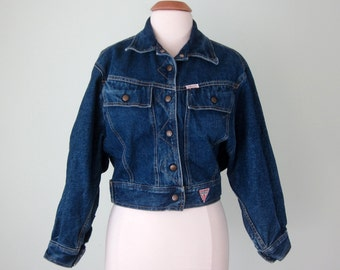 80s denim jacket / guess blue jean dolman avant coat (s - m)