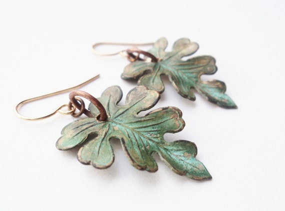 Earrings, Leaf, Leave, Verdigris, Green, Forest, Woodland, Nature