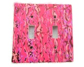 Double Switchplate, Toggle Switch Plate, Pink With Shades of Lavender and Copper