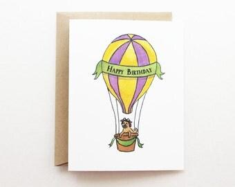 Birthday Card - Hot Air Balloon Stripes