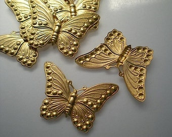 6 large brass butterfly charms No. 3