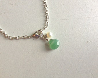 CLEARANCE: Girls' Faceted Green Aventurine Teardrop and Freshwater Pearl Bracelet on Sterling Silver