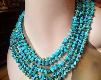 SALE- Gorgeous five strand turquoise necklace with a beautiful mother-of-pearl toggle class