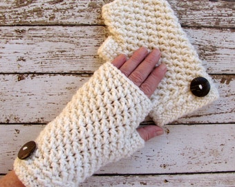 Ivory Fingerless Gloves, Off White Winter Gloves, Woman's Wrist Warmers
