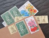 Summer Garden .. UNused Vintage Postage Stamps  .. post 5 letters