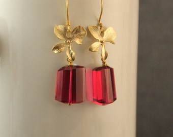 Hot Pink/Fuschia Emerald Cut Quartz Stones With Gold Plated Orchid Blossoms and Bali Vermeil Earwires