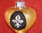 New Orleans glass ornament Fleur De Lis black and gold